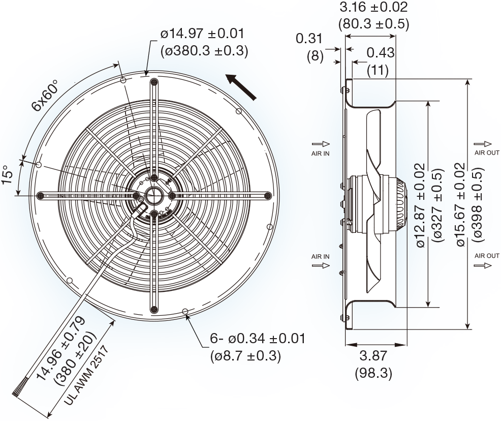 uf300bna series ac axial fan